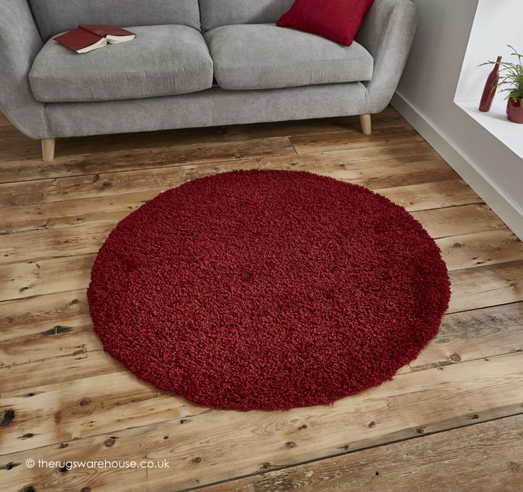 Vista Red Circle Rug, A Soft Round Budget Shaggy Rug In Shades Of Red (