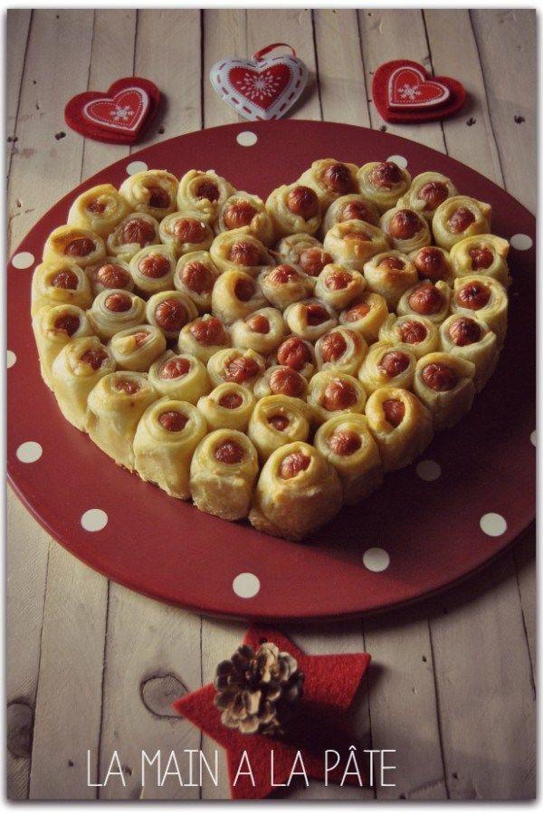 Feuillete petites saucisses en forme de coeur