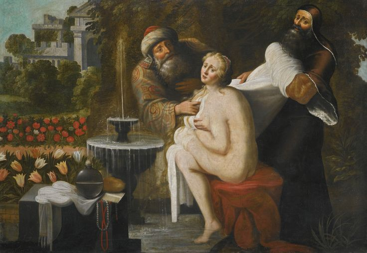 Antwerp School, 17th century SUZANNA AND THE ELDERS oil on canvas 116 by 167 cm; 45 5/8  by 65 3/4  in.: