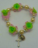 Green Rose Rosary Bracelet.