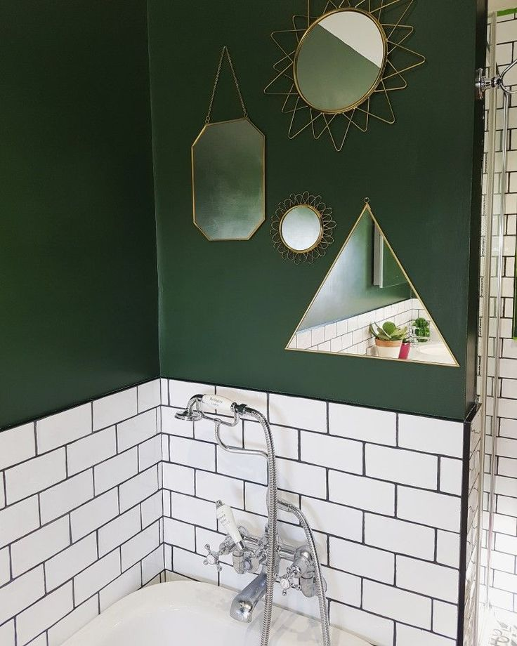 Gold Mirror Feature On Forest Green Bathroom Wall Green Bathroom Decor Green Bathroom Green Tile Bathroom