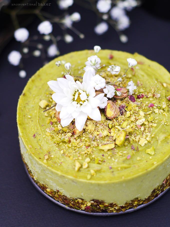 Pistachio & Orange Blossom Raw Avocado Cake (Free from: dairy, gluten & grains, refined sugar, oils, and with a nut-free option)
