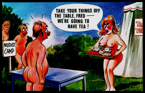 C 1960 Signed Bamforth comic Risqué Postcard Nudist Nature camp off the table