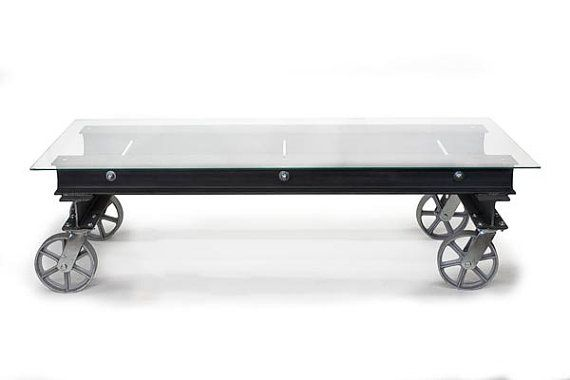 Coffee Table Industrial Coffee Table Glass by JRealFurniture
