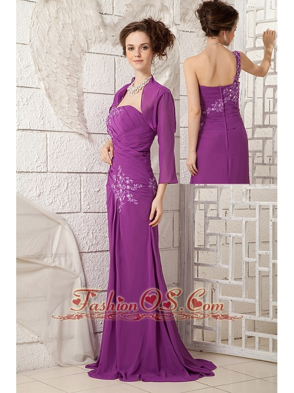 2013 Bright Purple Mother Of The Bride Dress Column One Shoulder Chiffon Appliques Brush Train  http://www.fashionos.com  online maid of honor dresses | mother dress online | every girl's dancing prom dress | sell unique club dress | mothers dresses that are different. | handmade prom dress | sheath brides mom dresses | chiffon designer bridesmaid dress for wedding | appliques celebrity dress