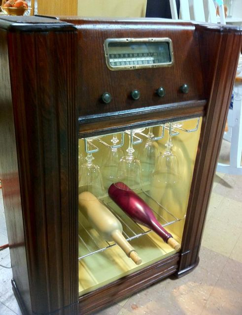 Hometalk :: Re-purposing Furniture. From old floor radio to wine cabinet. - Kim and Vince would love this