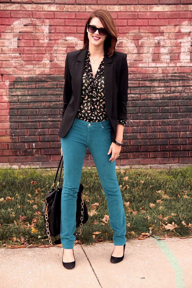 LOVE the kitty cat blouse and teal pants (Jessica Quirk of What I Wore)