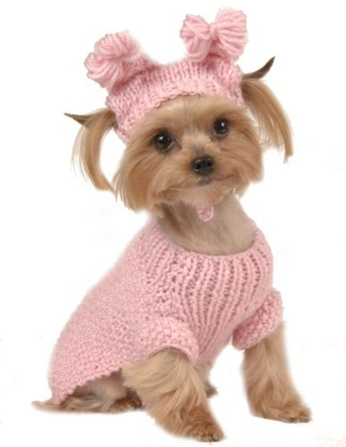 MAX'S CLOSET PET DOG CLOTHING PINK CABLE SWEATER w/ HAT SMALL DOG NEW XS-L Now this is just toooooo cute!