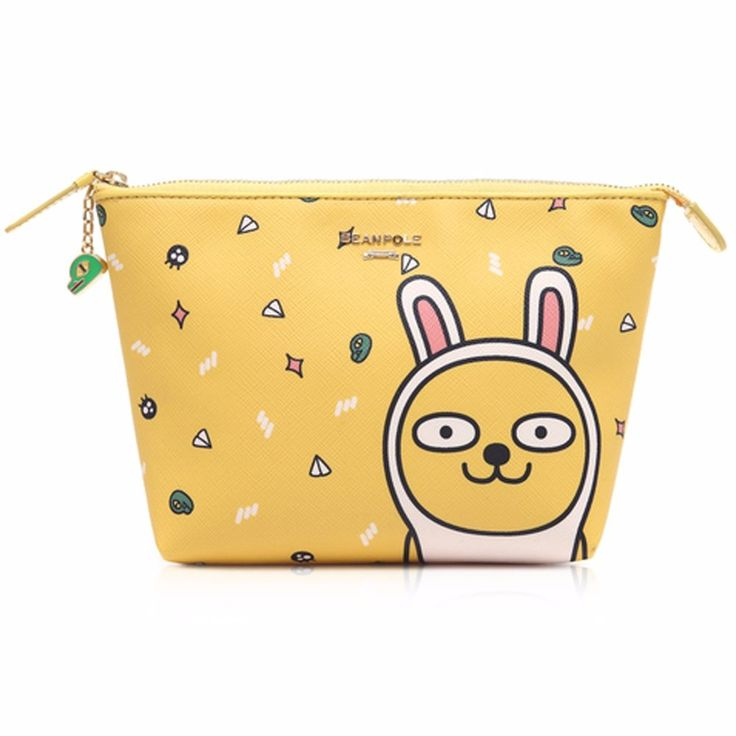 Cute Yellow Leather Makeup Cosmetic Pouch Bag Case Beanpole Kakao Collaboration #BEANPOLE