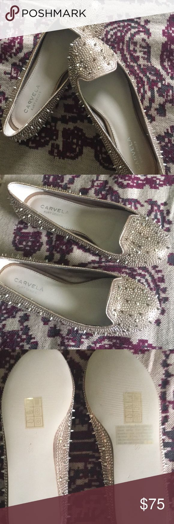 carvela Kurt Geiger metallic spiked loafers NWOT carvela Kurt Geiger metallic spiked loafers - in perfect condition. These were purchased from another Posher but they are a tad too small for me. They are marked sz 36 but would fit a 5.5 better. Open to offers!! kurt geiger Shoes