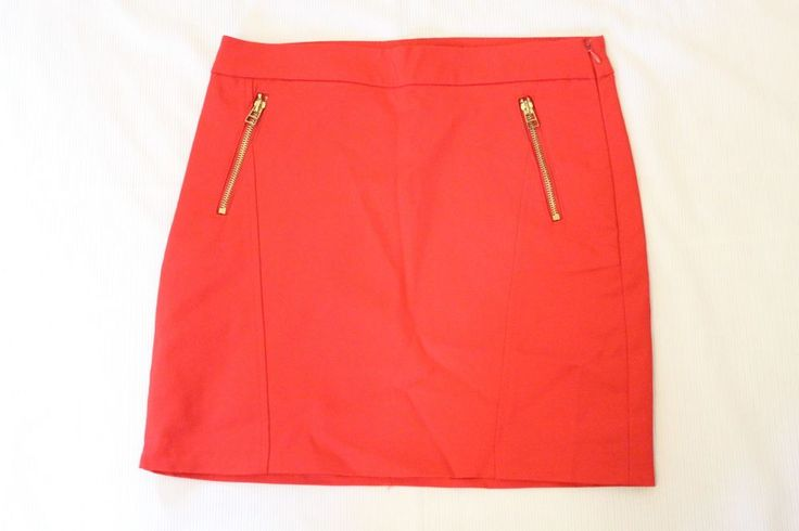 Mango Suit Womens Mini Pencil Skirt Size 4 Fitted Red Gold Zipper Pockets #MangoSuit #Mini #Career