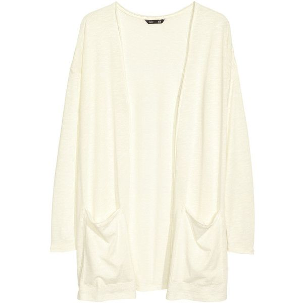 H&M Jersey cardigan ($8.37) ❤ liked on Polyvore featuring tops, cardigans, outerwear, jackets, natural white, long white cardigan, h&m cardigan, jersey top, white top and long cardigan