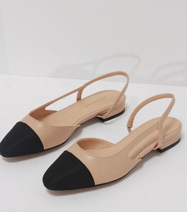 Loeil Two-Tone Slingback Low Heels | @andwhatelse
