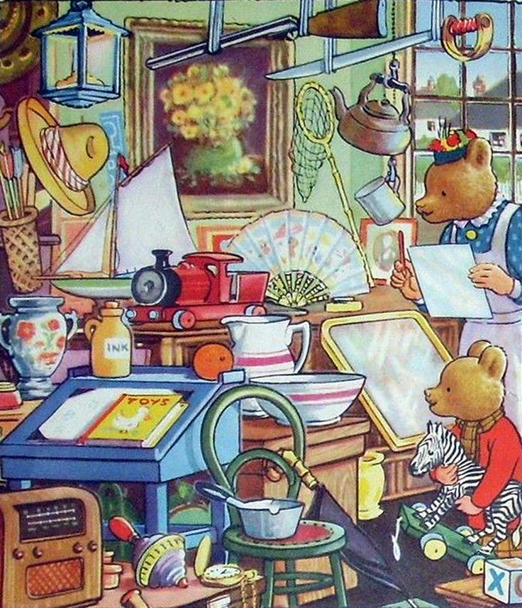 Rupert Bear and his Mom at the jumble sale