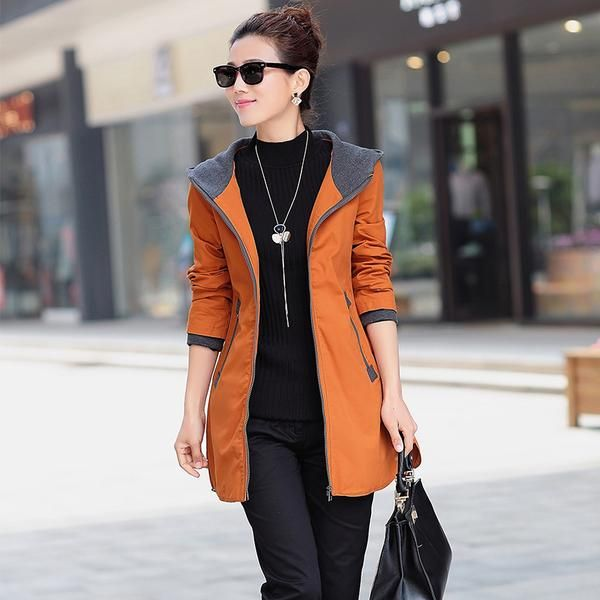 Women trench coat slim plus size medium-long windbreaker hooded outwear