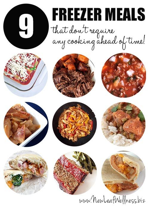 Nine freezer meals that don't require any cooking ahead of time. Includes a grocery list and recipes that you can print.