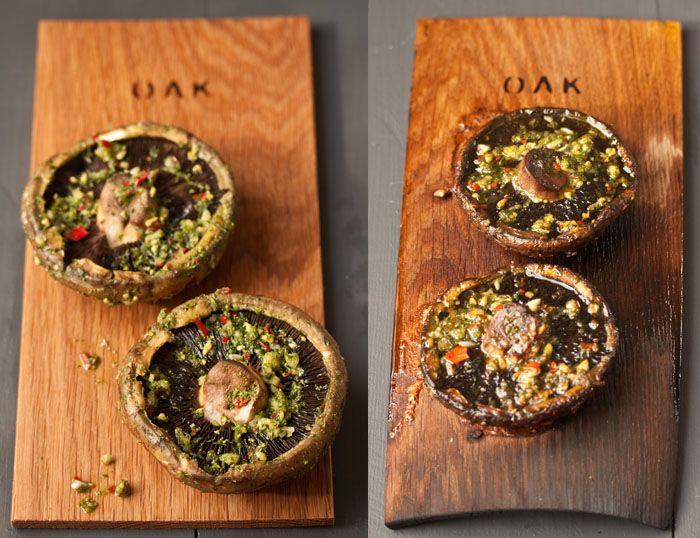 grilled mushrooms on geobasket braai planks