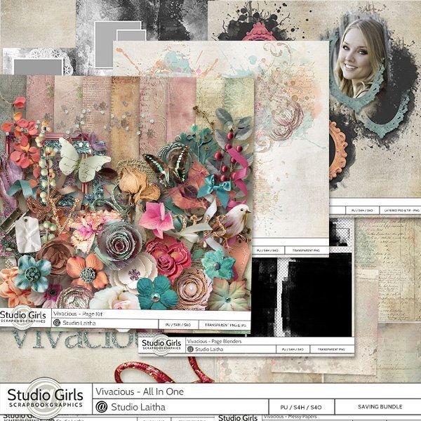 **NEW** Vivacious by Laitha Designs  Available @ http://shop.scrapbookgraphics.com/Laitha/