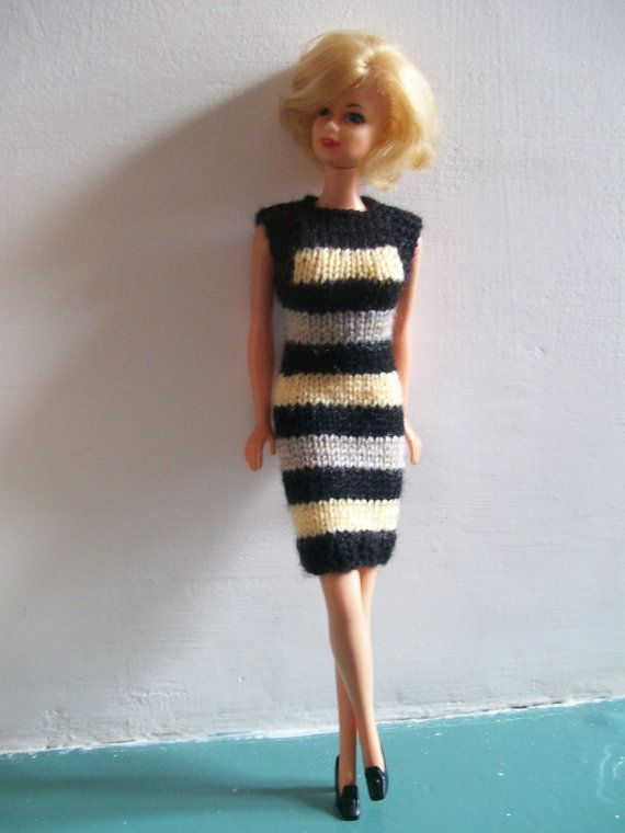 Barbie clothes - striped black, yellow and beige dress