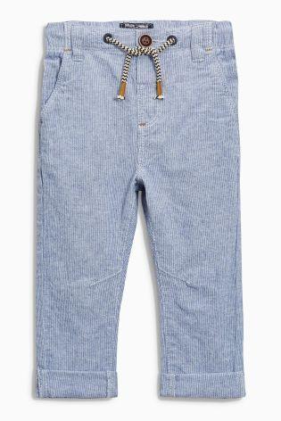 Modro-biele činovaťové nohavice s vysokým podielom ľanu (3 mes. – 6 rok.)