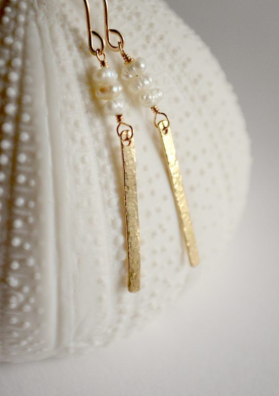 Slender hand-hammered column earrings with tiny pearls. By Kahili Creations of Hawaii...