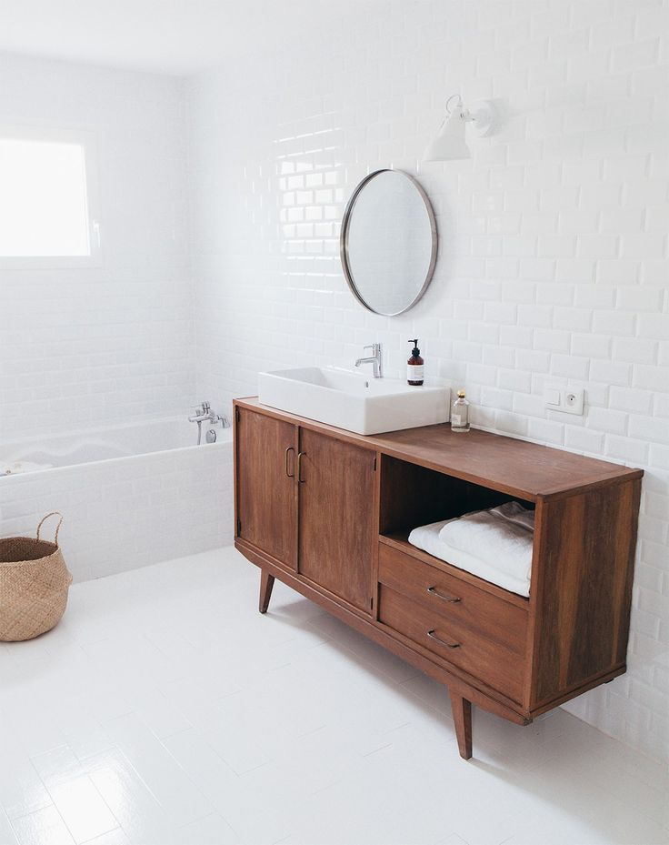 Vintage teak cabinet, bathroom styling with modern and vintage vibes