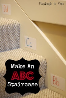 Alphabet staircase - easy to set up and an active way to teach letters and words!