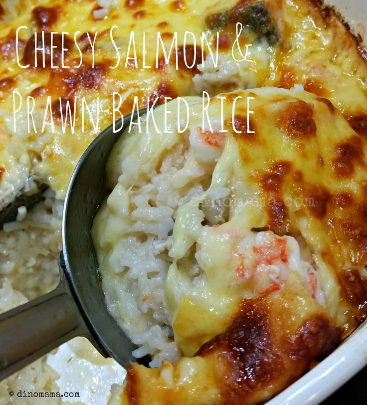 We are the DinoFamily 我們是恐龍家族: Cheesy Salmon & Prawn Baked Rice