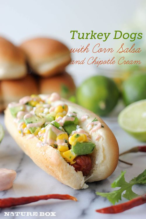Turkey dogs with corn salsa and chipotle cream