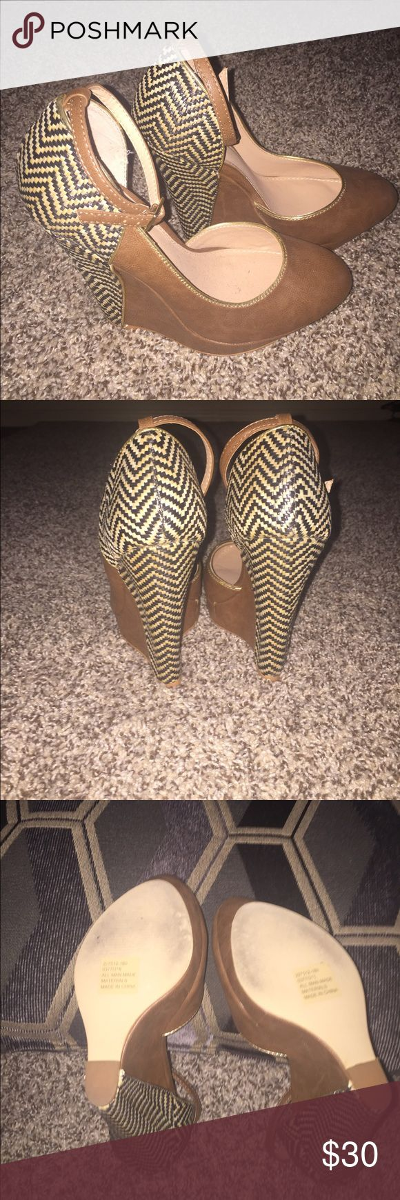 "Wedges for SALE Super cute closed-toe wedges w/strap! Aztec print. 4""wedge. Worn twice and in excellent condition. No scratches or scuff marks. True to size. Price Firm. No Trades❌ Colin Stuart Shoes Wedges"