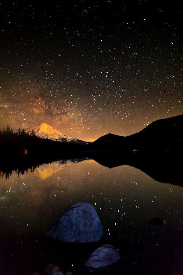 Celestial camping. #outside #stars #galaxy #mountain #nature #beauty #lake #night