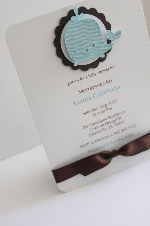 Baby Shower Invitation - Baby Boy in Blue with Whale - Personalize - Happy Birthday - Boy or Girl. $2.50, via Etsy.