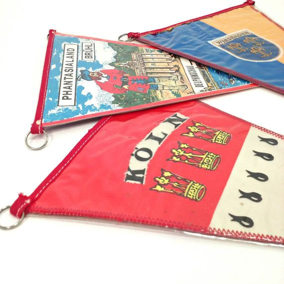 Vintage set of 3 German Travel souvenir flags pennants Wiesbaden Kur-und KongreBstadt Phantasialand Bruhl Delphinschau, This is an amusement park in Germany. KOLN am Rhein Der Kolner Dom  They are all marked TOBI Measure 11 inches long by 6 1/2 inches wide.  made of fabric, paper, plastic and satin. Follow us on Instagram for sales, coupon codes and a preview of whats to come! @vintage_insoddsouts  Check out our other items, inventory always changing. https://www.etsy.com/...