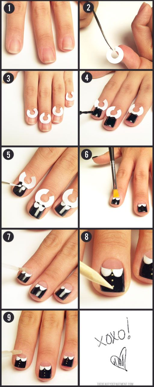 Although this shows how to do a certain nail style, what I like is the trick of cutting binder paper ring stickers and applying them to each finger to get the shape. Bet this would work for DIY French tips...