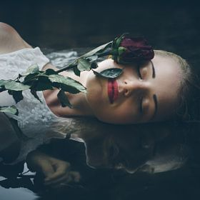 Klára Zamouřilová / 500px girl, water, rose, flower, sensual, mirror, woman