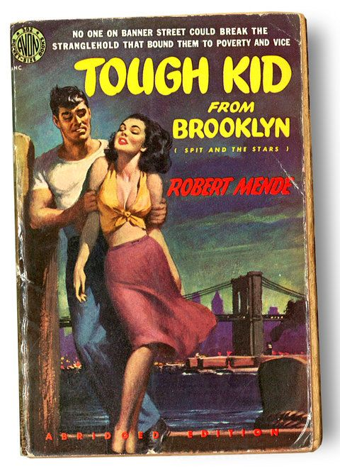 "fun avon pulp fiction paperback book cover, ""tough kid from brooklyn (spit and the stars)"" by robert mende, ""no one on banner street could break the stranglehold that bound them to poverty and vice"""