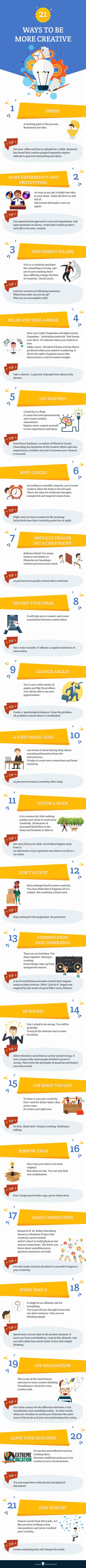 Tips to be more creative – infographic   World Creativity and Innovation Week April 15-21