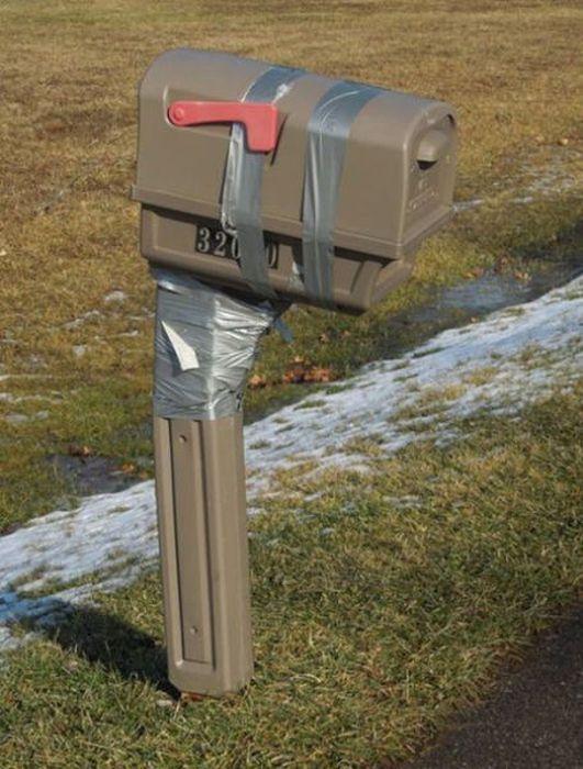 Broken Mailbox Plus Duck Tape Equals MacGyver Style Fix Engineering