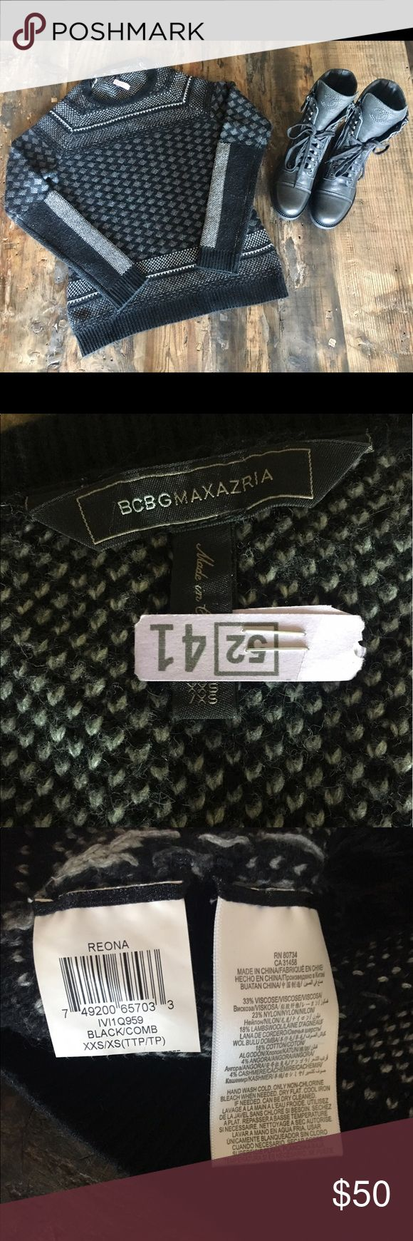 EUC BCBGMaxAzria Sweater, Black/Gray, Size XXS/XS Excellent Used Condition BCBGMaxAzria Sweater. I'm XS in this brand and this fits me perfect. Really cute pattern and very versatile that piece can outlast any season or fashion trend. BCBGMaxAzria Sweaters