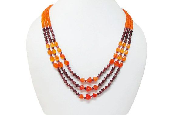 Multi strand Orange Carnelian & Garnet Beads Necklace by anushruti