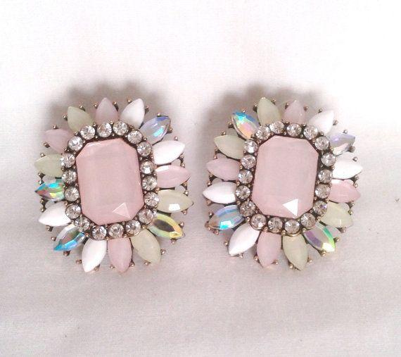 Light Pink Gem Iridescent Earrings by LilyAndEllie.com, $18.00