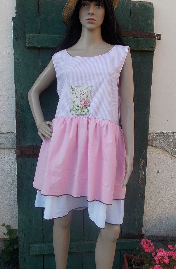 dress tunic ruffle french roses  country style by AtelierJoanVilem