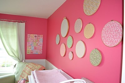 fabric swatch wall (made with old embroidery hoops)