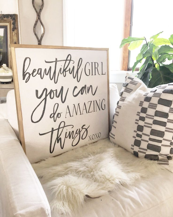 Large wall art / Nursery / Sign / positive life quotes / inspriational quote Beautiful girl you can do amazing things framed wood quote sign