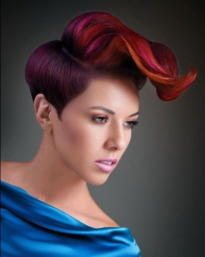 Women's Short Hair - Disconnected - Color Red Violet, Red, Pink , Copper