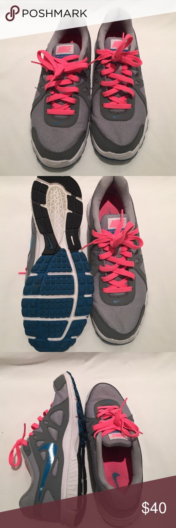 Nike Revolution 2. Little wear. These have only been worn twice. Pink and gray. Nike Shoes Sneakers