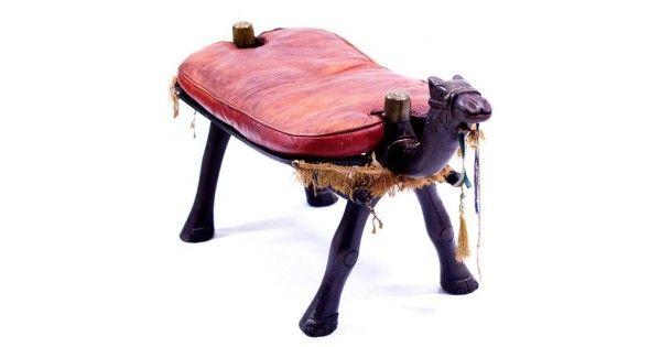 Vechi taburet egiptean - șa de cămilă - lemn & piele naturală