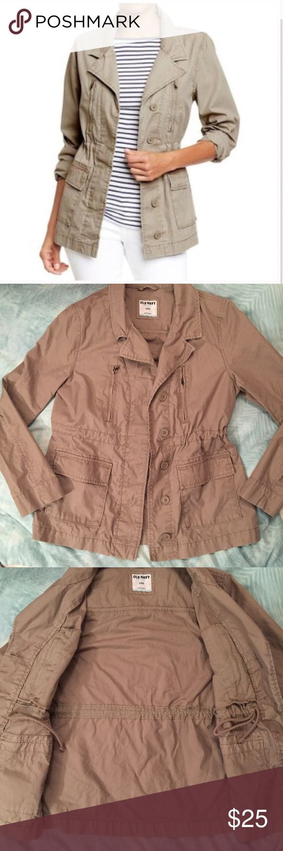 Old Navy Khaki Utility Jacket! Perfect condition khaki utility jacket from Old Navy! Classic utility jacket style with ties on inside! Size small! Old Navy Jackets & Coats Utility Jackets