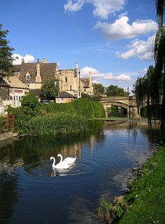 River Welland at Stamford in Lincolnshire, England. One of the most beautiful towns in England