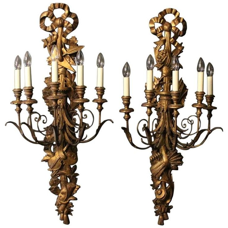 French Pair of Large Giltwood Antique Wall Lights | From a unique collection of antique and modern wall lights and sconces at https://www.1stdibs.com/furniture/lighting/sconces-wall-lights/